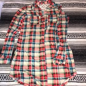 Red & blue flannel dress